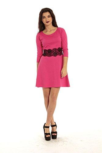 Damen Skater Kleid 3/4 Ärmel Taille mit Spitze Detail Ausgestellt Franki Skater Kleid in Übergrößen Coral