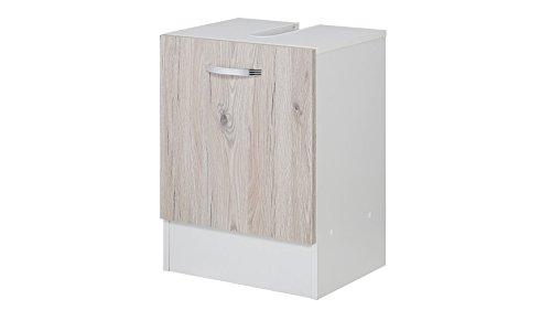 KESPER Waschbeckenunterschrank Como, Breite 40 cm weiß, eichefarben hell