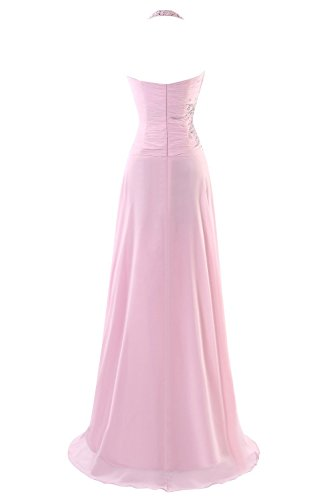 Fanciest Women's Halter Chiffon Lang Evening Kleides Beaded Prom Formelle Kleid Pink Lime Green