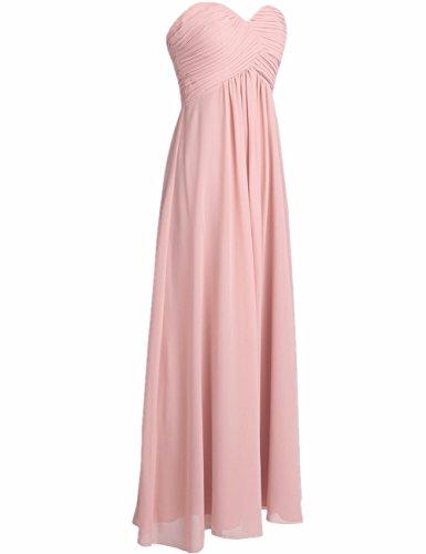 iiniim Damen Abendkleider Trägerlos Partykleider Lange Herzform Chiffon Festlich Hochzeit Ballkleid Cocktailkleid Blush Rosa