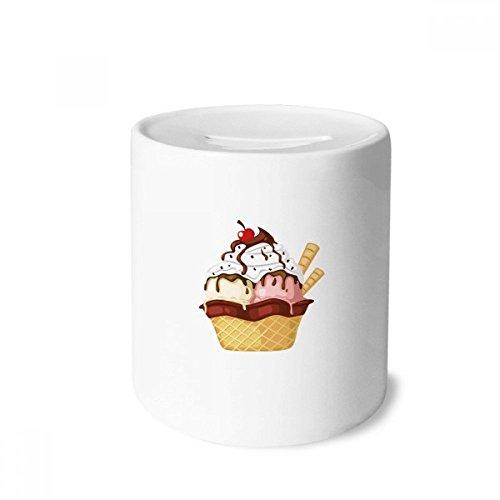 DIYthinker Kekse Kirsche Schokoladen-Eiscreme-Spardose Sparkassen Keramik Münzfach 3.5 Zoll in Height, 3.1 Zoll in Duruchmesser Mehrfarbig