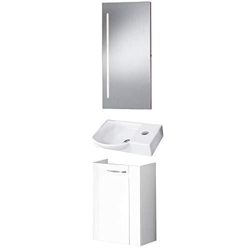 FACKELMANN weißes Badmöbel Set Sceno Gästebad 3-TLG. 45 cm Waschbecken Unterschrank & Keramikbecken & Badspiegel