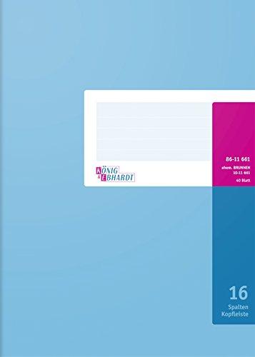 König & Ebhardt 8611661-7116K40KL Spaltenbuch mit Kopfleiste (A4, 16 Spalten, 40 Blatt) -
