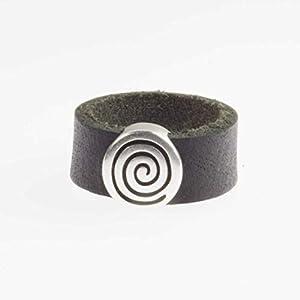 Breiter Leder-Ring aus echtem schwarzem Büffel-Leder für Männer mit versilberter Spirale/alle Größen/Herren-Ring/Männer-Ring