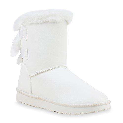 Damen Schuhe Schlupfstiefel Boots Warm gefüttert Weiss Weiss