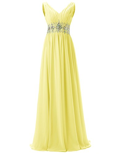 Dresstells Damen Lang Chiffon Promi-Kleider Rückenfrei Abendkleider Gelb
