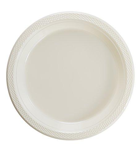 Exquisite Kunststoff Dessert/Salat Teller-Farbe Einweg Teller-100Zählen, plastik, elfenbeinfarben, 10 Inch. (Kunststoff-platten Bulk)