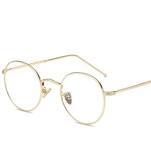 WULE-Sunglasses Unisex Runde Sonnenbrille runde Mode runde Brille uv-Schnitt leichte Cross & brillenetui runde Sonnenbrille (Color : Gold, Size : Kostenlos)