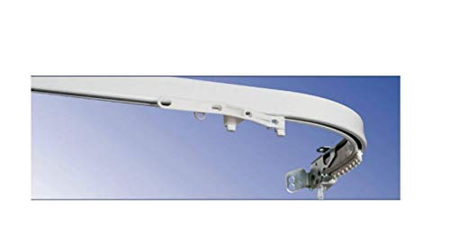 Casa fiorentina riloga - bastone per tenda - binario - carrello scorritenda in alluminio bianco con tiro a corda (apertura centrale e comando a dx), curvo l.160 montaggio a soffitto