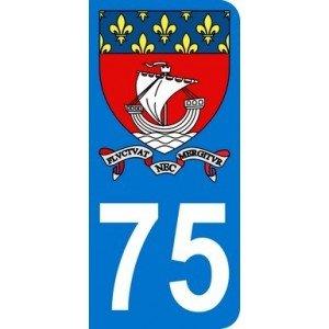 Autocollant 75 avec blason Ville de Paris et Devise plaque immatriculation Moto (6,3 x 2,9 cm)