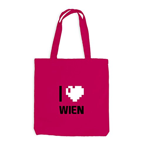 Jutebeutel - I Love Wien - Österreich Reisen Herz Heart Pixel Pink