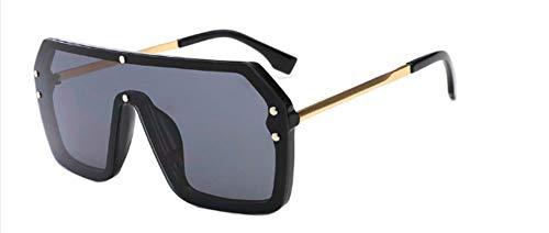 ZJMIYJ Sonnenbrillen Flache Oberseite Oversize Einteilige Linse Goggle Sonnenbrille Frauen Gradient Quadrat Schattierungen Männer schwarz