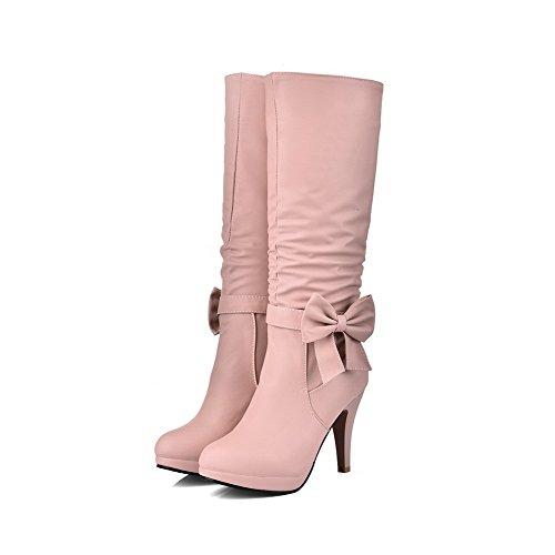 AllhqFashion Damen Rund Zehe Hoher Absatz Blend-Materialien Mitte-Spitze Rein Stiefel, Weiß, 39