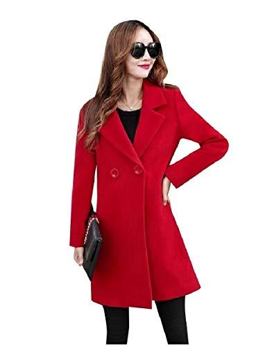 CuteRose Women Woolen Fall Winter Long Jackets Outwear Slimming PEA Coat Red 2XL -
