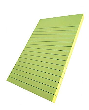 KNAFS Ruled/Lined Sticky Self-Stick repositionable Notes Yellow (Set of 3 x 100 Sheets) - 4 x 6 inch