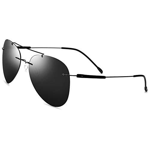 Sonnenbrillen Mode 100% Titan Sonnenbrille super leichte randlose männer Sonnenbrille polarisierte Eyewear Fahren Sport Sonnenbrille (Größe : Einheitsgröße)