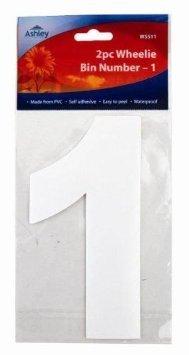 Mülleimer Aufkleber Sticker Nummer 17cm 2er Packung - 1 (WS511) von Blackspur - Du und dein Garten