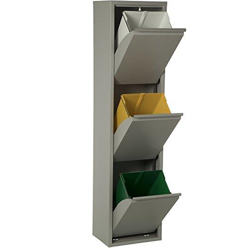 DonRegaloWeb - Papelera vertical de reciclaje de metal de 3 cubos de plástico en color gris brillo