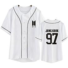 DJS KPOP BTS Camiseta Uniforme de Béisbol All Member Name Camiseta de Béisbol de Impresión para