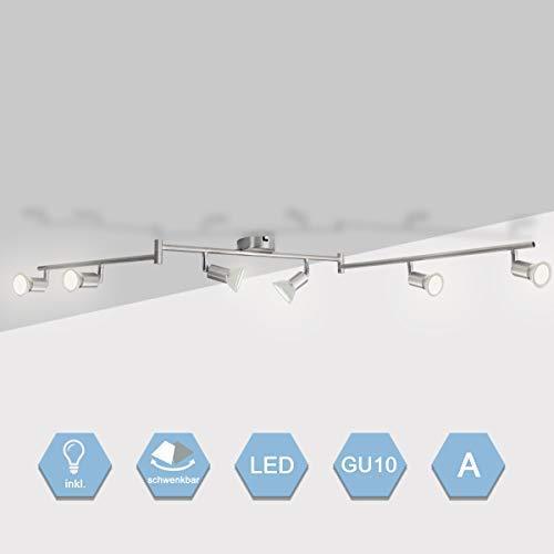 HomLand LED Deckenleuchte Schwenkbar Deckenstrahler Deckenlampe GU10 Deckenspot Kaltweiß Wandleuchte Bad Kinderzimmer Schlafzimmer Küchen 6x5.5w Leuchtmittel