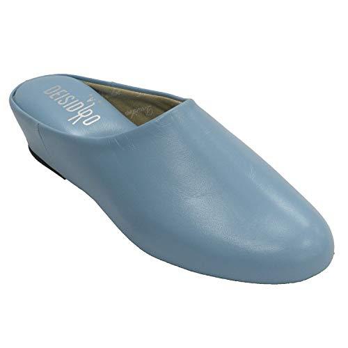 Zapatillas Mujer Piel Abierta atrás Estar casa DEISIDRO en Celeste Talla 39