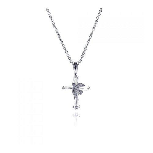 Rhodium Überzogenes Sterling Silber Kreuz Taube Halskette Anhänger