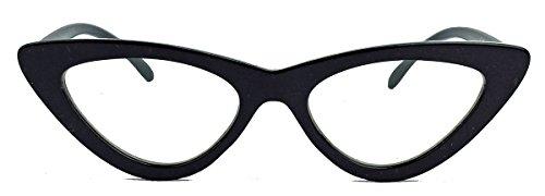 50er Jahre Fashion Brille im Vintage Look dicker Cat Eye Rahmen Klarglas CN82 (Schwarz/Clear Lens)