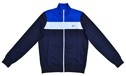 Block Track Jacke (Fred Perry Trainingsjacke Jacke Colour Block Track Jacket J2102 Blau Weiß Größe S (10))