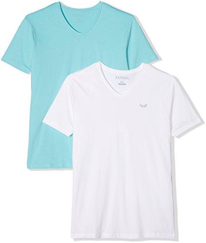 Kaporal Herren T-Shirt Gifte17m11 2er pack Multicolore (Aqua Sky / White)