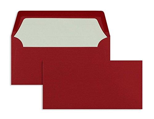 Farbige Briefhüllen   Premium   110 x 220 mm (DIN Lang) Rot (100 Stück) Nassklebung   Briefhüllen, Kuverts, Couverts, Umschläge mit 2 Jahren Zufriedenheitsgarantie