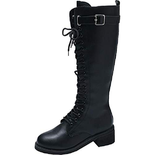 Damenstiefel Frauen Slim Winter wasserdicht Anti-Rutsch-Stiefel Schnürstiefel Martin Stretch PU-Leder Schnalle Kalb Hohe Stiefel Lange Stiefel Schwarze Schuhe,Black-5.5UK/38EU - Breite Kalb Hohen Stiefeln