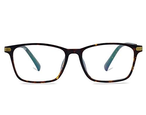 Ted Virtu-ENGLAND Brown Color Rectangular Metal Frame Clear Lens Glasses Spectacles Eyeglass for Men and Women