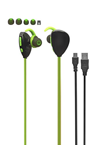 VARNI Sports Ultra Wireless Bluetooth Headset V4.1 Sports Wireless Bluetooth Headphones Mobile Running Gym Exercise Sweatproof Headsets NOISE ISOLATING Bluetooth Earphones with Mic/Apt-X for iPhone, iPad, Samsung, Android Smartphone Tablets - Black/Green VR-X13
