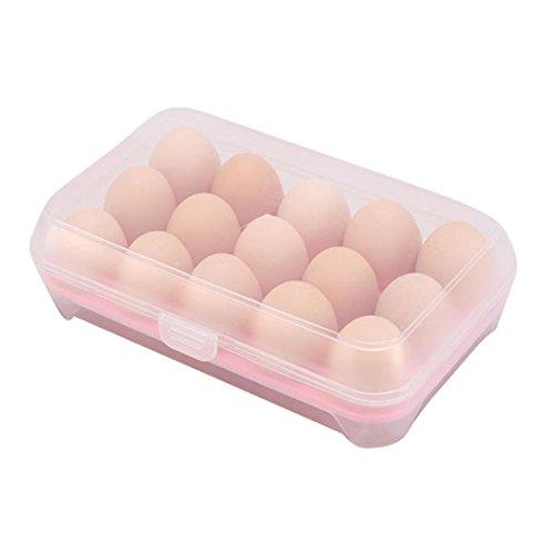 sunnymi Nützliche Kühlschrank Eier Aufbewahrungsbox/15 Eier Lebensmittel Lagerung (rosa) (Tragen Tröster Set)