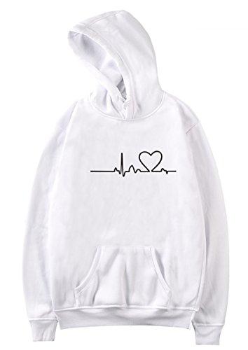 SIMYJOY Pärchen Herzschlag Kapuzenpullover Herz Hoodie ECG Cool Simple Strassenmode Sweatshirt für Liebespaar Herren Damen Jugendlich weißes M -