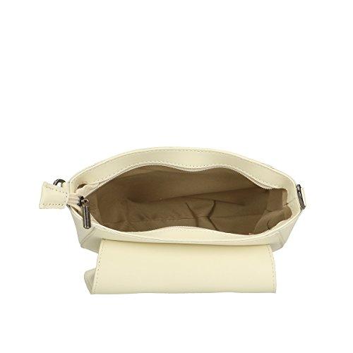 Chicca Borse Borsa a tracolla in pelle 20x17x7 100% Genuine Leather Beige
