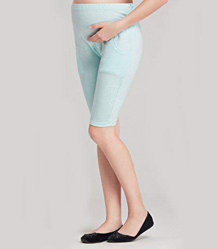 Liang Rou Damen Kurze Umstands-Leggings Mini-gerippt Elastisch Figurformend Hellblau