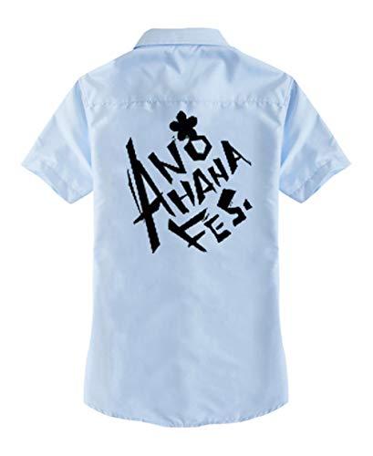 Cosstars Anohana Anime T-Shirt Cosplay Kostüm Kurzarm Tee Top Bluse Blau 1 XL (Anohana Cosplay Kostüm)