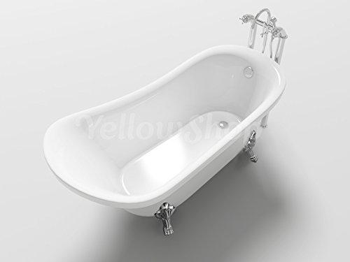 Yellowshop - vasca vasche da bagno con piedini freestanding modello impero, free standing design centro stanza vintage retrò dimesione cm 160x72 altezza 75