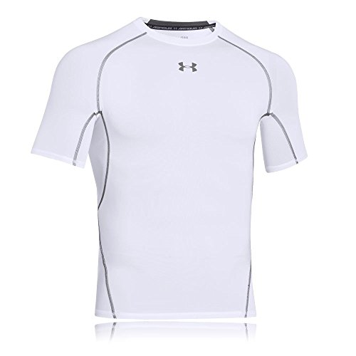 Under Armour Ua Hg Armour SS, Camiseta de Manga Corta para Hombre, White (100), 2XL