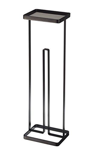 YAMAZAKI Gerson Toilettenpapierhalter, Stahl, Schwarz, 16 x 12 x 54 cm