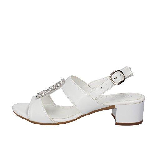 DAVID HARON sandali donna bianco / argento pelle strass (35 EU, Bianco)