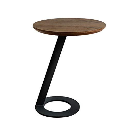 Couchtische Wohnzimmer runden Sofa Side Schrank Schlafzimmer Mini Tee Tisch Studie L-förmigen Schreibtisch Balkon Mini Tee Tisch Nordic Moderne Möbel (Color : Brown, Size : 46cm*56cm) - L-förmigen Schreibtisch Möbel