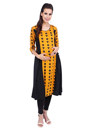 MomToBe Women's Rayon Ink Black & Honey Yellow Maternity Kurti