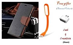 Cool & Creative Covers For ZENFONE SELFIE (ZD551KL) Flip Cover Dairy Case With Free LED Light and OTG ( Black & Brown )