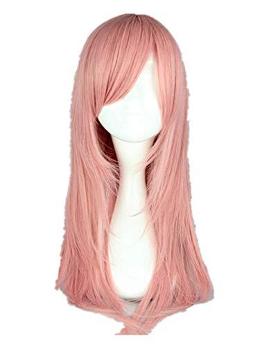 tische hitzebeständige glattes weibliches Haar Kleidung Cartoon Charakter Rollenspiel Perücke, Pink_18inches ()
