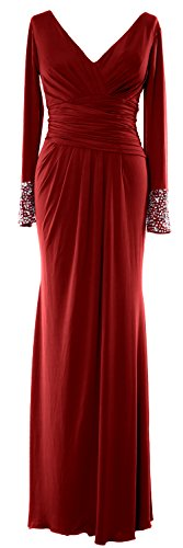 MACloth Women Long Sleeves V Neck Jersey Maxi Formal Evening Gown MOB Dress Burgundy