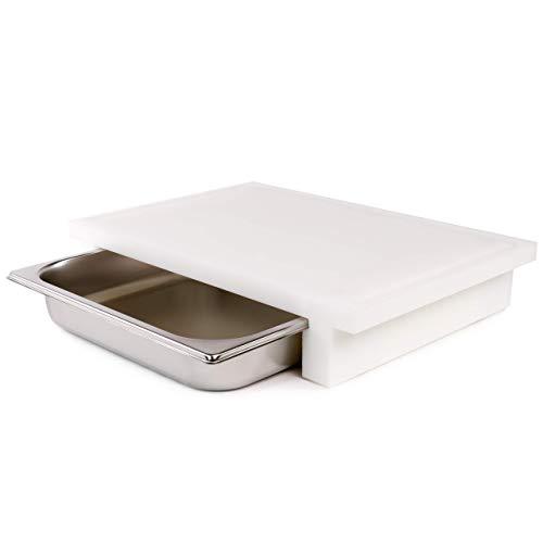 cleenbo Schneidebrett Gastro GN weiß, Profi Küchenbrett groß aus Kunststoff, Schneidebretter antibakteriell mit Saftrille & Edelstahl Auffangschale, weißes Schneidbrett Plastik Board: 43 x 29 x 7,5 cm
