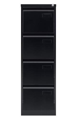 ängeregistraturschrank, einbahnig, DIN A4, 4 HR-Schubladen, Stahl, 633 Schwarz, 62.2 x 41.3 x 132.1 cm ()