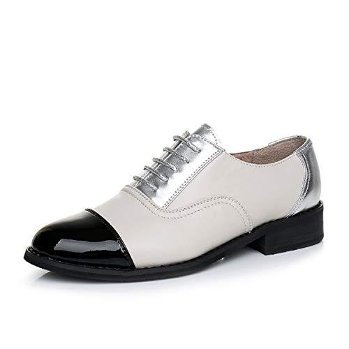 Zapatos Oxford de Las Mujeres Zapatos Planos de Cuero Genuino Casual Vintage para Mocasines Zapatos...